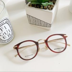 DEREK LAM 281 glasses 18k gold plated ruby/goldNWT